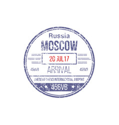 Visa stamp moscow airport russia border control vector