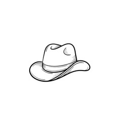 Western cowboy hat hand drawn sketch icon vector