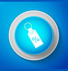 white discount percent tag icon on blue background vector image