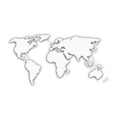 White world map with shadow silhouette vector image
