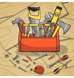 Working toolbox and instruments kit vector