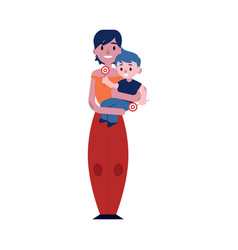 young mother holding her vector image