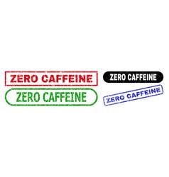 zero caffeine rectangle watermarks with grunge vector image