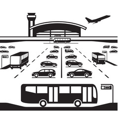 Airport parking transfer buses vector