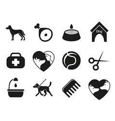 Dog icons set for web What dogs need vector image