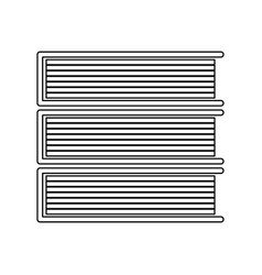 horizontal stack of books black color icon vector image vector image