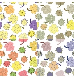Ladybugs and clover leaves seamless pattern set vector image vector image