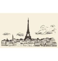 Paris skyline France eiffel sketch drawn vector image vector image