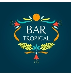 Template logo Tropical bar Oval frame of vector image