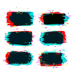 brush strokes banners with glitch effect vector image vector image