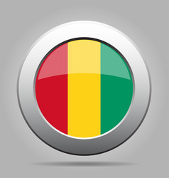 Flag of Guinea Shiny metal gray round button vector image vector image