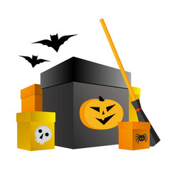 halloween shopping present boxes with pumpkin vector image
