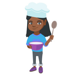 little african girl holding a saucepan and a spoon vector image