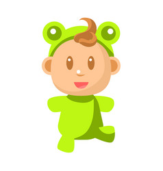 Small happy baby walking in green frog costume vector