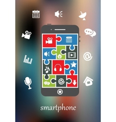 Smart phone display with multimedia icons vector image