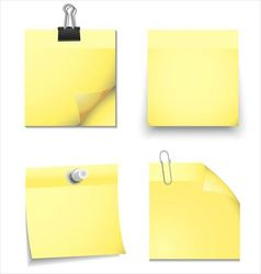 Yellow sticky blank notes with office supplies vector image