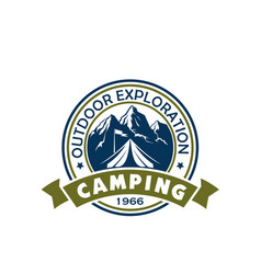 camping holiday and outdoor recreation badge vector image