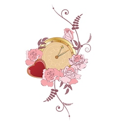 clock heart and roses vector image vector image