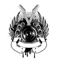 loudspeakers and crossed guitars vector image