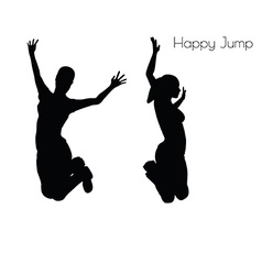 Woman in happy jump pose vector