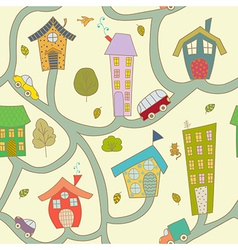 Cartoon city Seamless pattern vector image