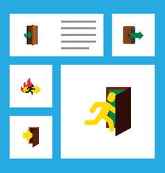 flat icon door set of entry fire exit entrance vector image vector image