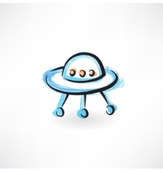 Flying saucer grunge icon vector