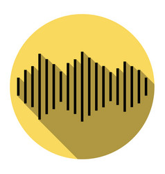 sound waves icon flat black icon with vector image vector image