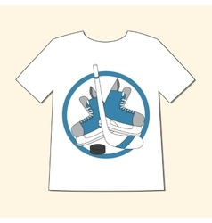 T-shirt with emblem hockey - skates stick and vector image