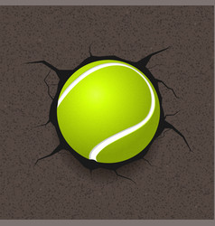 tennis ball and cracked background vector image vector image