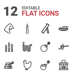 12 fire icons vector
