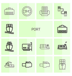 14 port icons vector