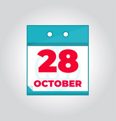 28 october flat daily calendar icon vector image