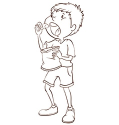 A simple sketch of a boy eating vector image