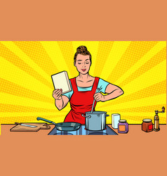 a woman cooks in kitchen vector image