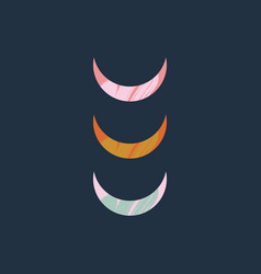 abstract composition with moon crescent textured vector image