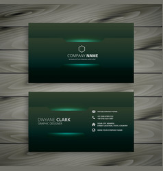 abstract dark green business card design vector image