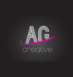 ag a g letter logo with lines design and purple vector image
