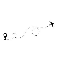 Airplane route path icon plane flight line vector