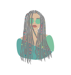 American woman braids set african drawn for design vector