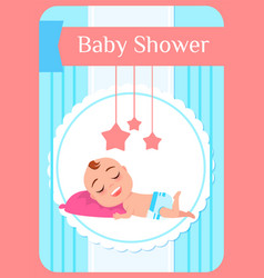 Baby shower child lying on pillow and sleeping vector