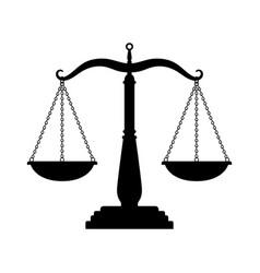 Balance scales black icon judge scale silhouette vector