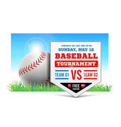 baseball plate on background grass vector image