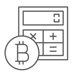 bitcoin calculator thin line icon finance money vector image