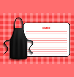 Black apron next to paper with recipe clothes vector
