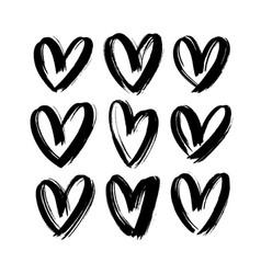 black hearts icon collection love symbol icon vector image