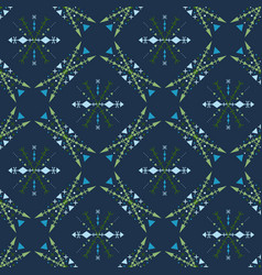 blue mosaic seamless pattern in tribal style vector image