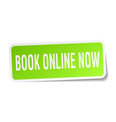 book online now square sticker on white vector image