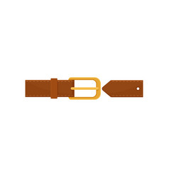 Brown leather belt with gold-plated metal buckle vector