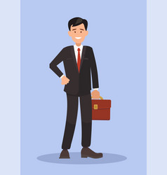 Business man in a suit with a briefcase vector